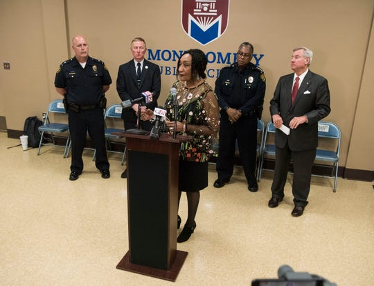 Superintendent Ann Roy Moore speaks along with other officials during a press conference regarding a shooting at Lee High School in Montgomery, Ala., on Tuesday, Feb. 26, 2019.
