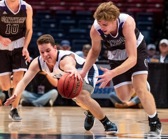 Plainview's Tristan Willingham and Plainview's Grant Sanders go after a loose ball in AHSAA Class 3A final four action at Legacy Arena in Birmingham, Ala. on Tuesday February 26, 2019.