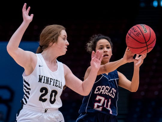 Montgomery Academy's Gabby Ramirez passes against Winfield's C?era Beck in AHSAA Class 3A final four action at Legacy Arena in Birmingham, Ala. on Tuesday February 26, 2019.