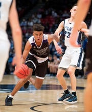 Prattville Christian's BJ Comer against Plainview in AHSAA Class 3A final four action at Legacy Arena in Birmingham, Ala. on Tuesday February 26, 2019.