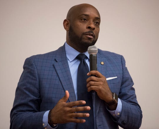 State Rep. Kelvin Lawrence speaks during a democratic town hall meeting at Alabama State University in Montgomery, Ala., on Monday, Feb. 25, 2019.