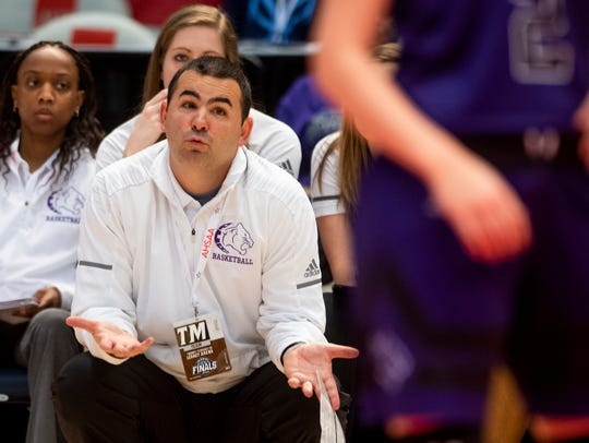Prattville Christian coach Jason Roberson coaches against Pisgah in AHSAA Class 3A final four action at Legacy Arena in Birmingham, Ala. on Tuesday February 26, 2019.