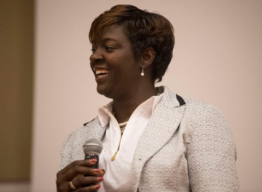 State Rep. Tashina Morris speaks during a democratic town hall meeting at Alabama State University in Montgomery, Ala., on Monday, Feb. 25, 2019.