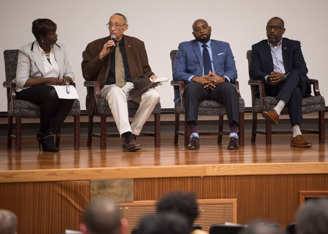 State Representatives Tashina Morris, from left, Thad McClammy, Kelvin Lawrence and Kirk Hatcher speak during a democratic town hall meeting at Alabama State University in Montgomery, Ala., on Monday, Feb. 25, 2019.