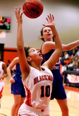 Blackman's Jaida Bond goes up for a shot during Monday's Region 4-AAA quarterfinal win over Lincoln County. Bond scored 12 points and surpassed the 1,000-point mark for her career in the win.