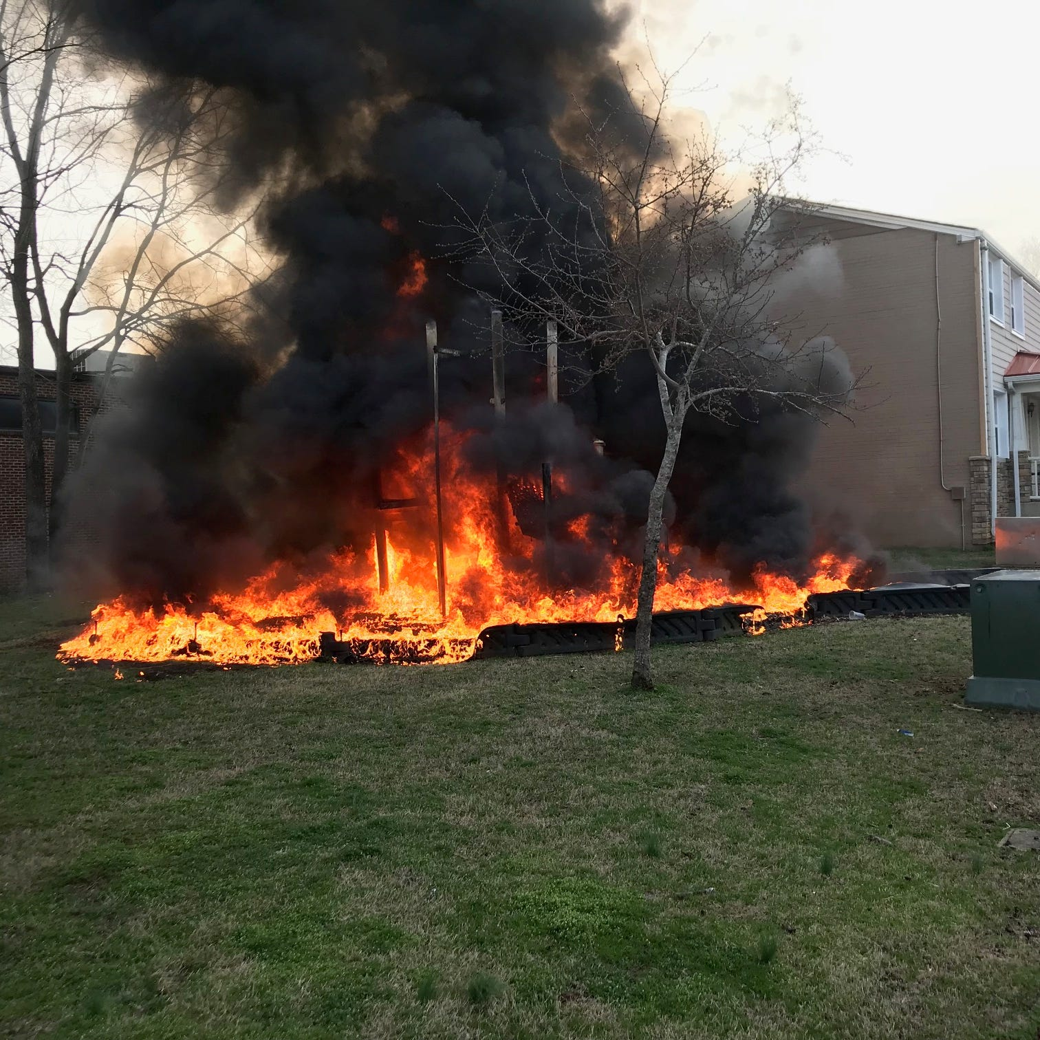 Authorities seeking person who set fire to playground at Parkside housing complex