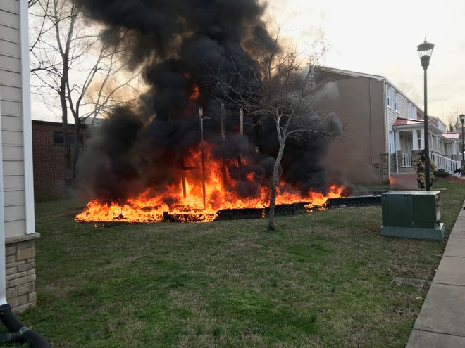 The playground at Murfreesboro's Parkside housing complex near Patterson Park Community Center caught fire Feb. 25, 2019. Authorities say it was intentionally set.