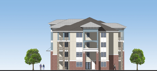 This rendering shows what Bell Tower Apartments will look like on New Salem Highway by summer or fall 2020.