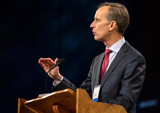 Tom Berlin of Virginia delivers remarks during the 2019 Special Session of the General Conference of the United Methodist Church in St. Louis on Tuesday, Feb. 26, 2019.