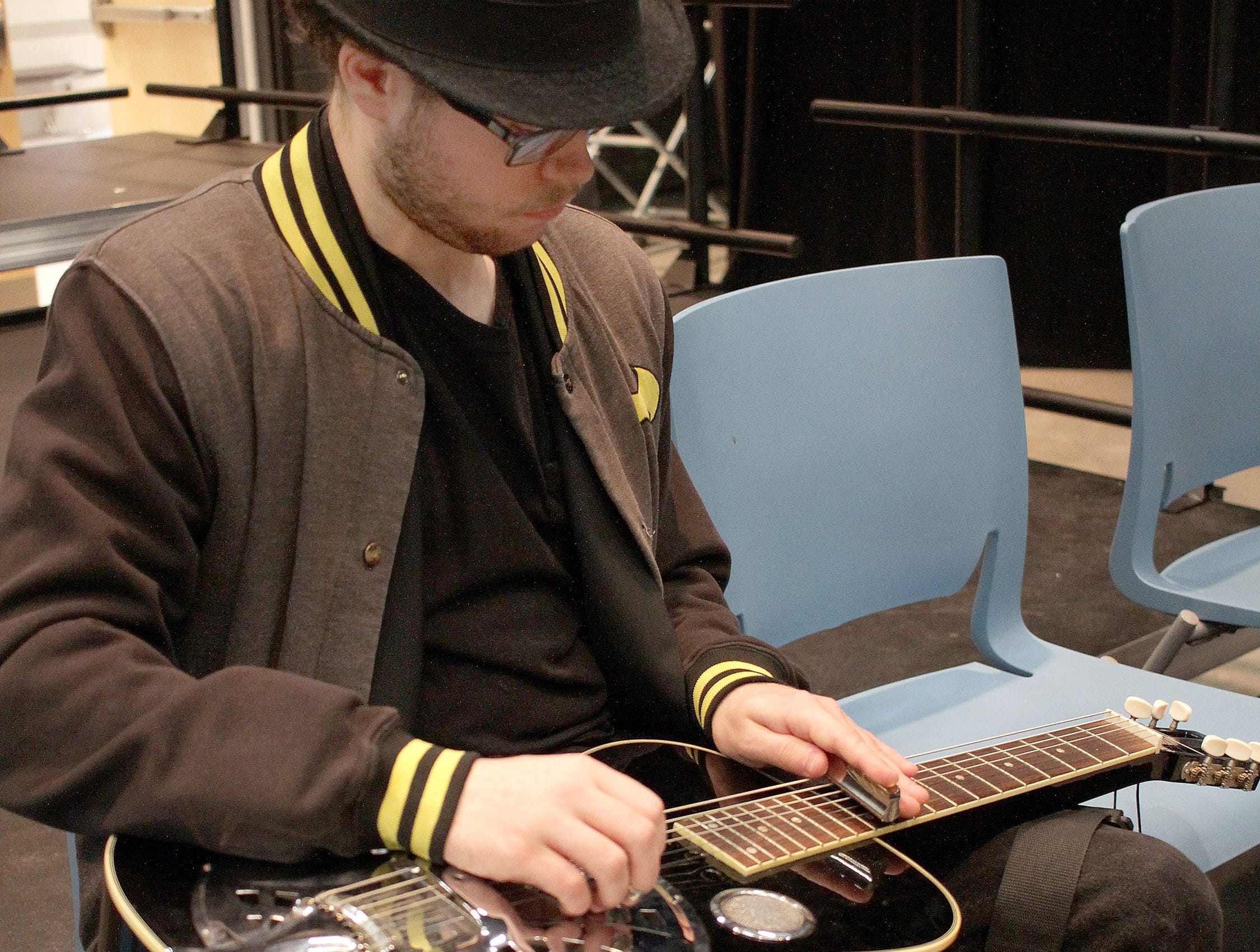 Tristan Graves plays his dobro guitar at High School Music Day at Volunteer State Community College on Saturday, February 23, 2019.
