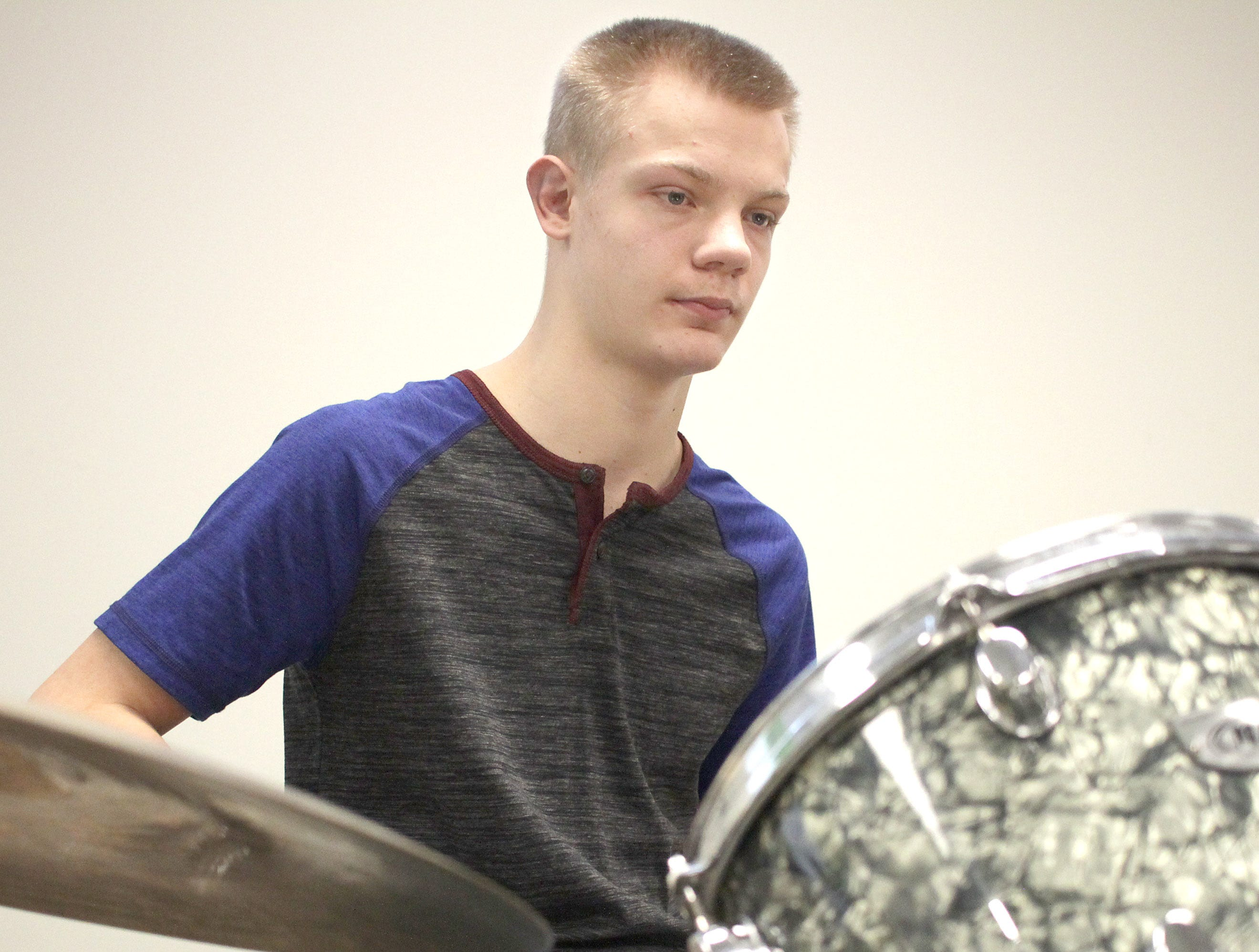 Chase Harness plays the drums at High Schoo Music Day at Volunteer State Community College on Saturday, February 23, 2019.