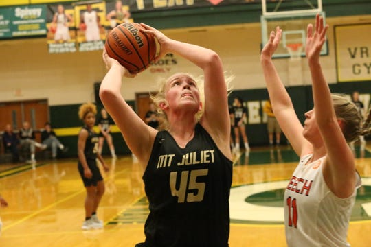 Mt. Juliet's Emma Palmer (45) goes up for a shot against Beech during their Region 5-AAA tournament semifinal game Monday at Gallatin.