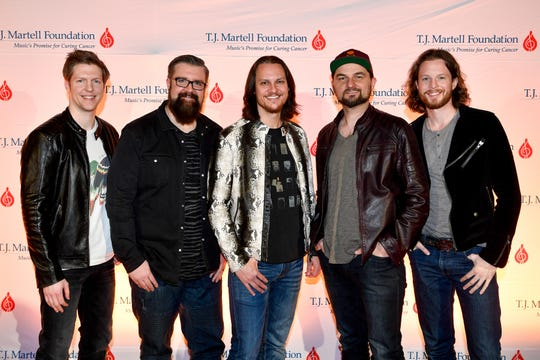 Home Free poses on the red carpet at the TJ Martell 11th annual Nashville Honors Gala Monday, Feb. 25, 2019, in Nashville, Tenn.
