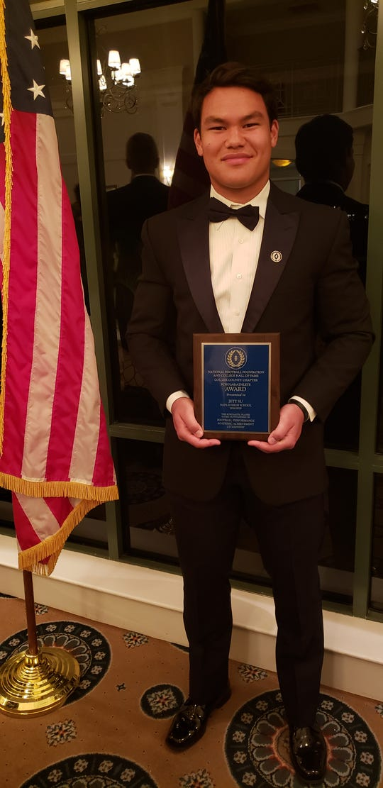 Naples High School defensive lineman Jett Su earned the Joanne and George Downing Career Builder scholarship worth $10,000 at the National Football Foundation Collier County chapter's annual banquet on Monday, Feb. 25, 2019.