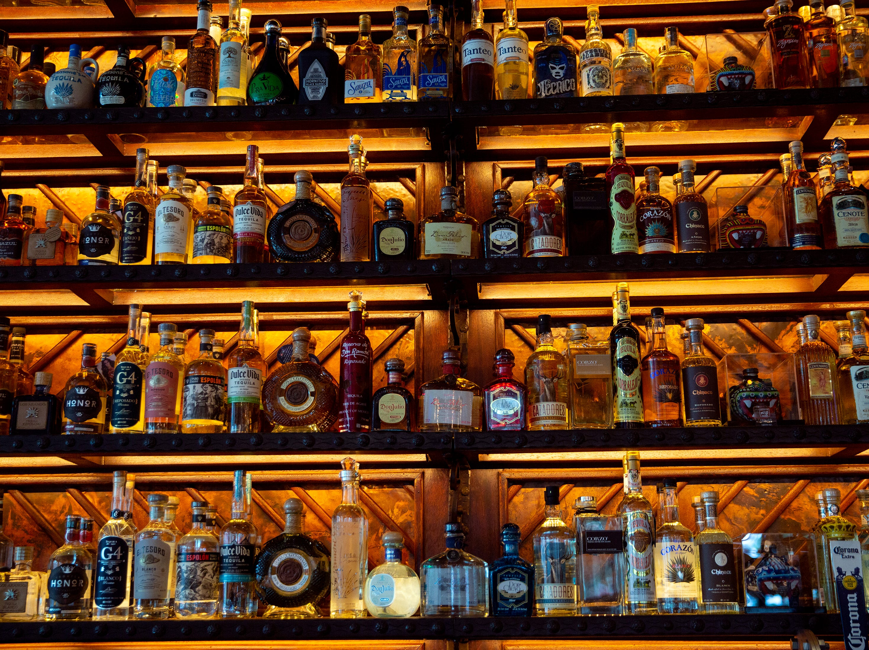 Tequila is displayed at Rocco's Tacos & Tequila Bar, Tuesday, Feb. 26, 2019, in Naples.
