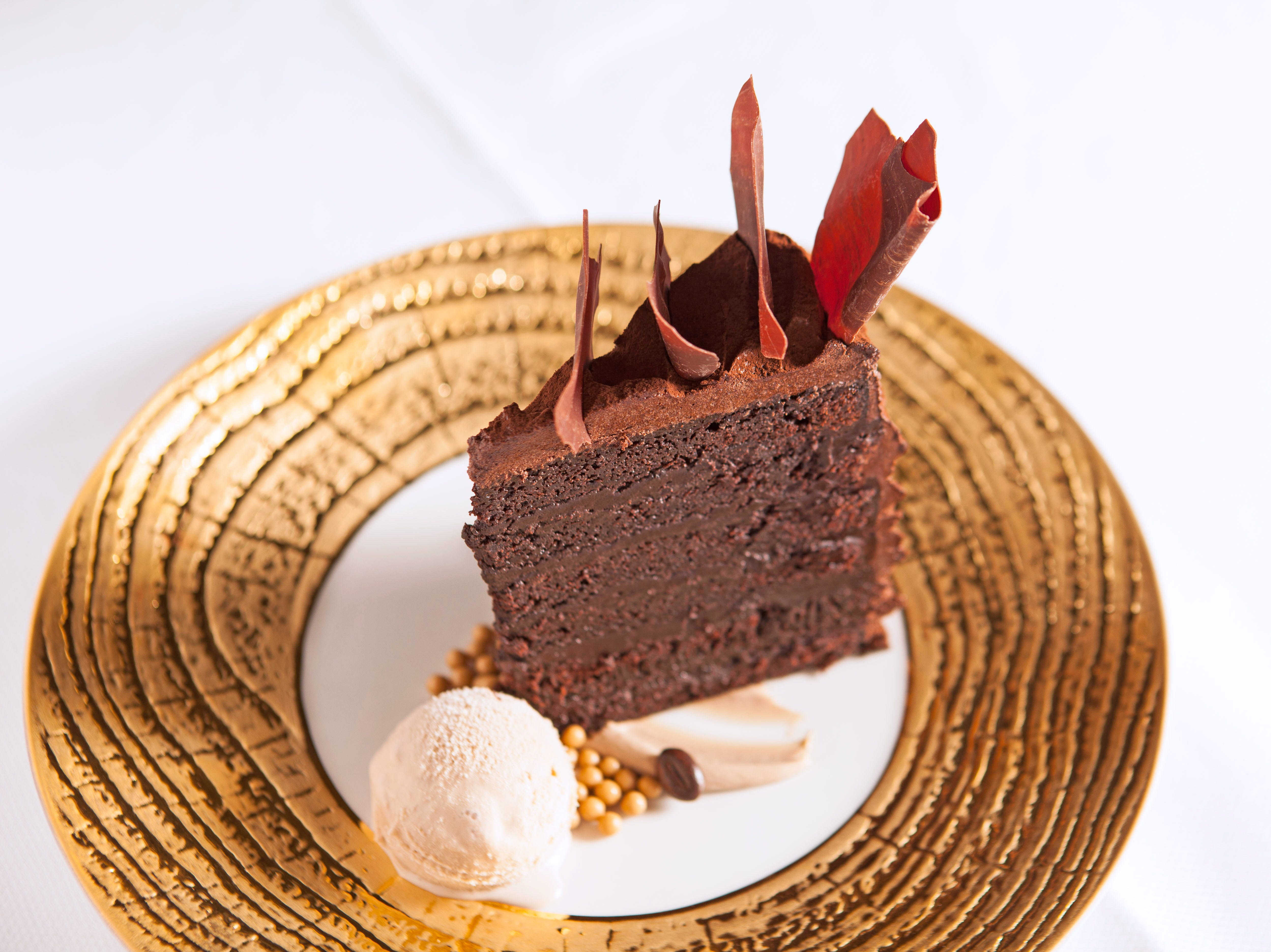A 12-layer chocolate cake on the dessert menu at The Grill at Ritz-Carlton.