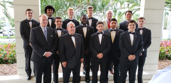 The honorees of the National Football Foundation Collier County chapter's annual banquet on Monday. Back row (L to R): Nathaniel Rounds-Seitz (Palmetto Ridge), Jordan Williams (Golden Gate), Parker Weiss (Community School), Luke Baker (Gulf Coast), Distinguished American award winner Pete Dawkins, Jett Su (Naples High). Middle row: Mauricio Santamarina (St. John Neumann), Kenneth Anyahie (Lely), Henry Garcia (Immokalee),