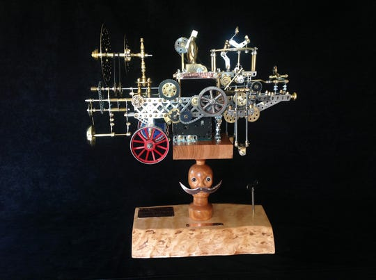 "The Morris Museum's exhibit ""A Cache of Kinetic Art: Simply Steampunk"" includes Time Machine, created by artist  David Bowman in 2018"