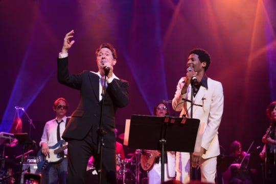 Montclair resident Stephen Colbert and his Tonight Show bandleader Jon Batiste  perform at the Montclair Film 70s Mixtape Party with the Losers Lounge at The Wellmont Theatre, February 2018.