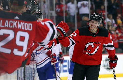 New Jersey Devils right wing Nathan Bastian (42) celebrates his first NHL goal during the first period of their game against the Montreal Canadiens at Prudential Center.