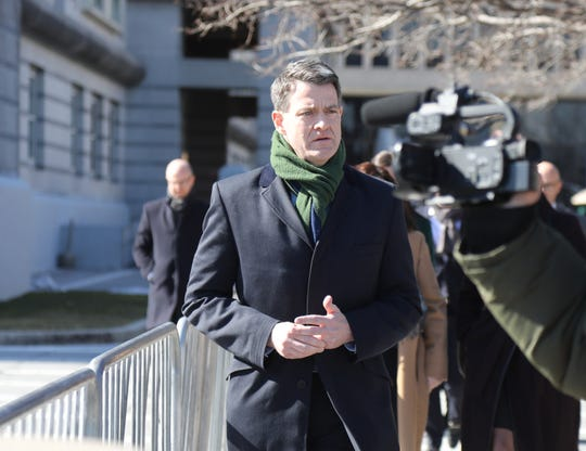 Bill Baroni exits the Federal Courthouse in Newark on February 26, 2019 after he was sentenced for his role in the Bridgegate scandal.