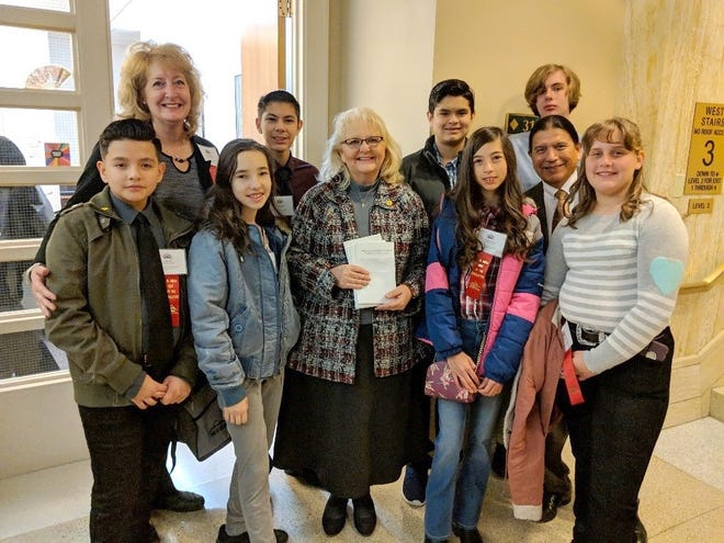 Red Mountain Middle School students and their regional coordinator and teachers enjoyed a visit to the Roundhouse in Santa Fe, NM during MESA Day at the 2019 Legislative Session.