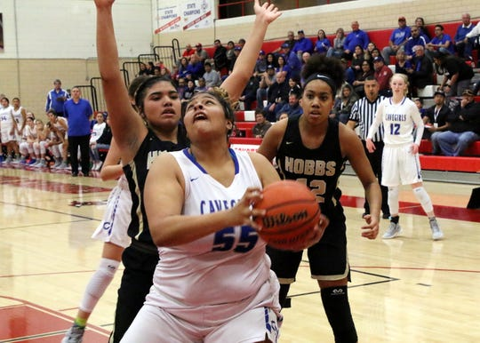 Kaliyah Montoya looks for a close shot during Monday's one-game playoff against Hobbs to determine the No. 1 team in Class 4-5A. She finished with 14 points to lead Carlsbad.