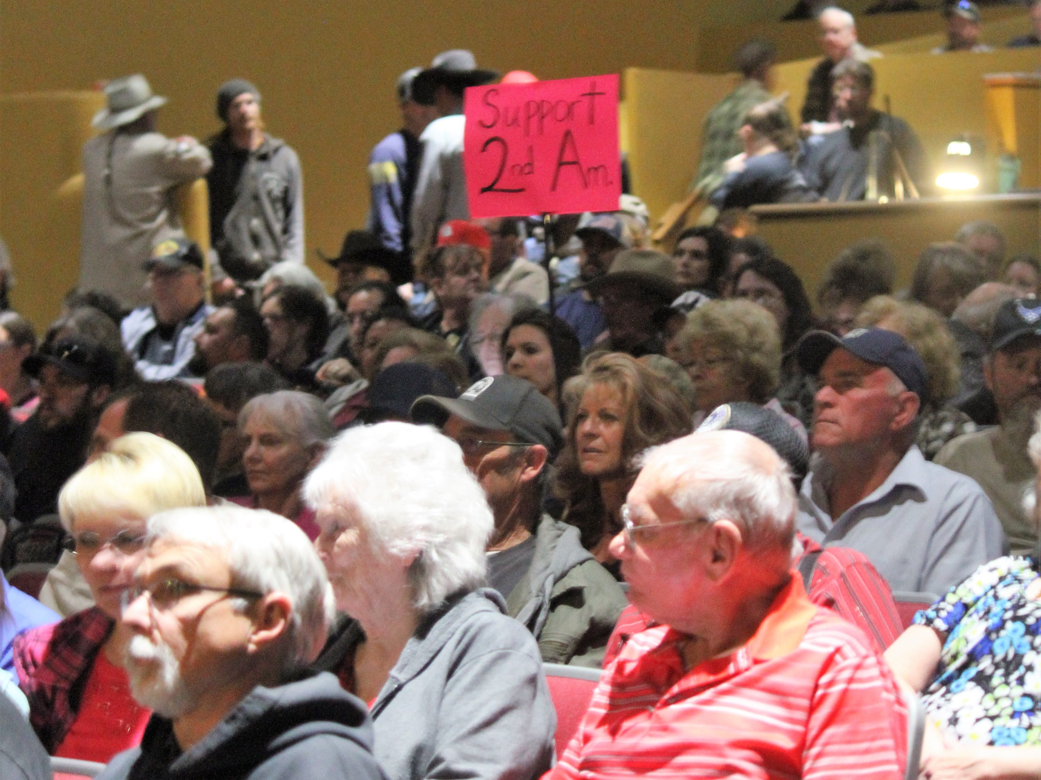 The crowd of more than 500 people settle in before the Otero County Commission Special Meeting reconvened at the Flickinger Center for the Performing Arts Monday. The commission had to change to a larger venue to accommodate the more than 500 people who wanted to see the county declare itself a Second Amendment Sanctuary County.