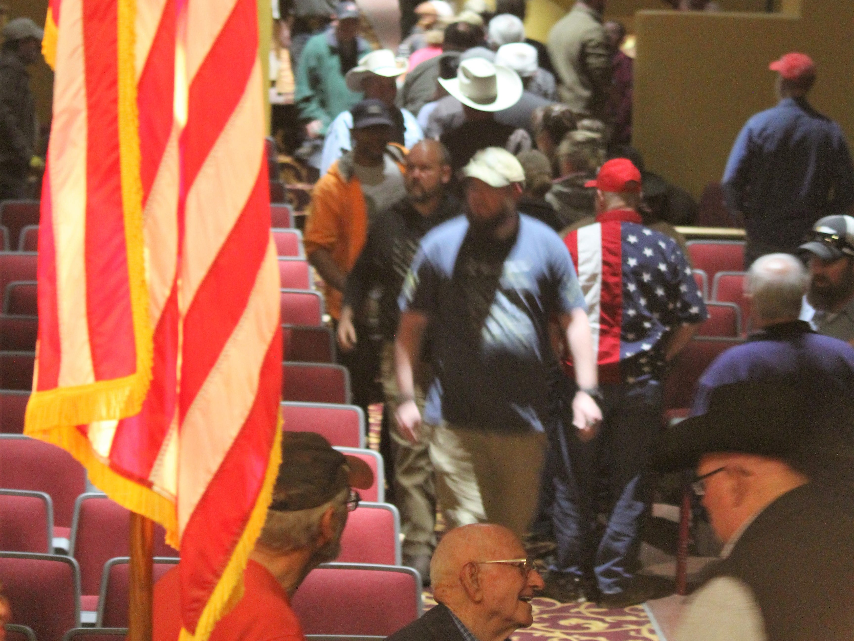 The near-capacity crowd leaves the Flickinger Center for the Performing Arts Monday night. The Otero County Commission held a special meeting to declare Otero County a Second Amendment Sanctuary County Monday night that had to move to a larger venue to support the crowd that came out for it.