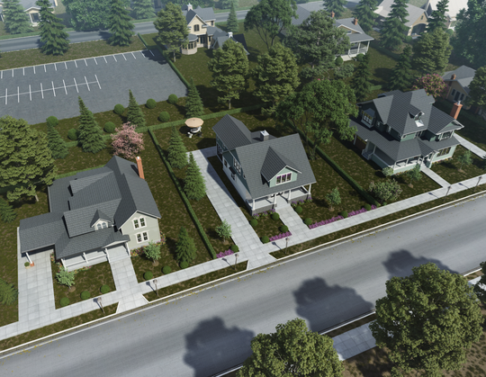 An initial rendering of the Main Street School property provided by Mike Miller Building Company.