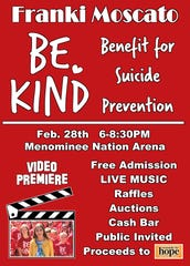 "Franki Moscato will be raising money for suicide prevention education during her ""Be Kind"" music video premiere."
