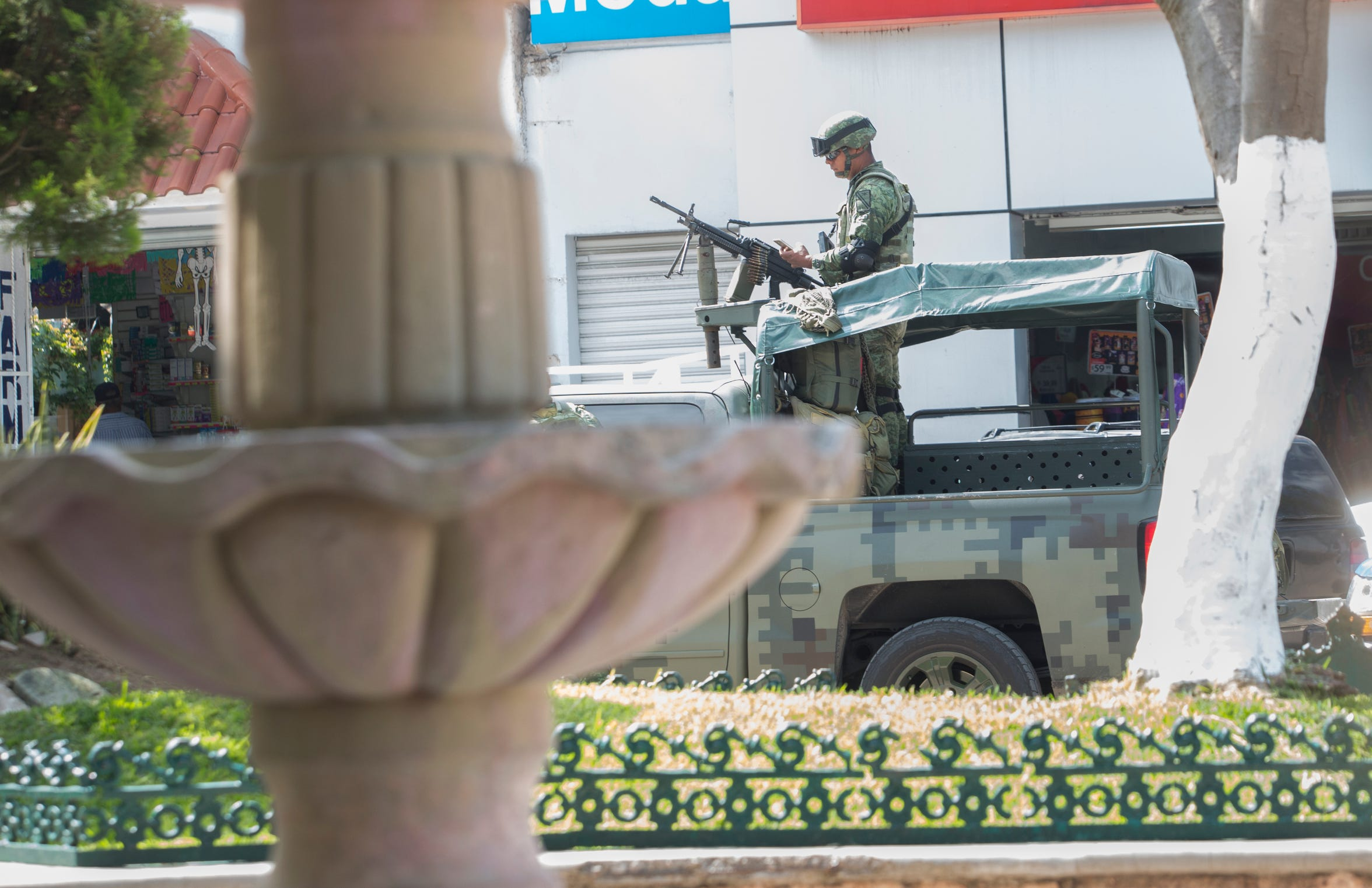 Members of the military are stationed along Chilapa's main square. In 2017, the county of Chilapa had the second-highest homicide rate in Mexico, according to a Mexico City-based advocacy group.