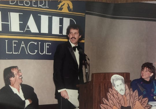 Desert Sun writer Bruce Fessier offers his rebuttal to the late Sonny Bono in a 1987 roast to raise funds for the Desert Theatre League. His wife, Jane Fessier, is at right.