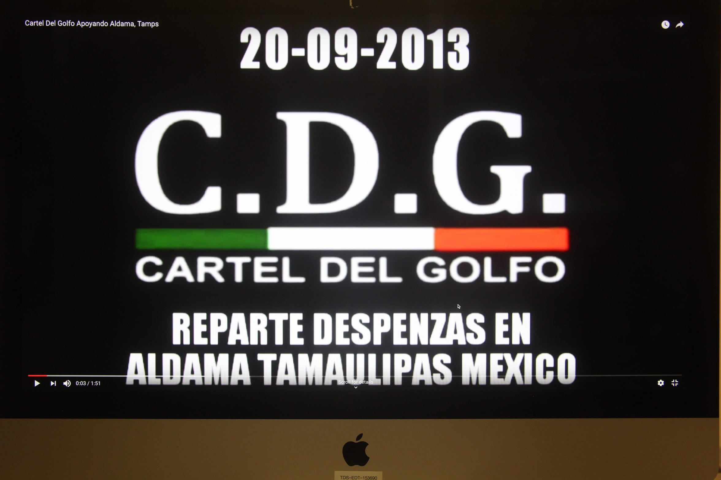 The cartels use YouTube and social media to boast about helping people, like when the Gulf Cartel distributed food and clothing to hurricane victims in 2013.