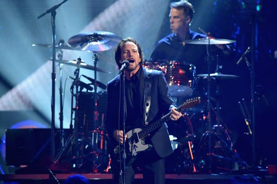 2017 Inductee Eddie Vedder of Pearl Jam performs onstage at the 32nd Annual Rock & Roll Hall Of Fame Induction Ceremony at Barclays Center on April 7, 2017 in New York City.