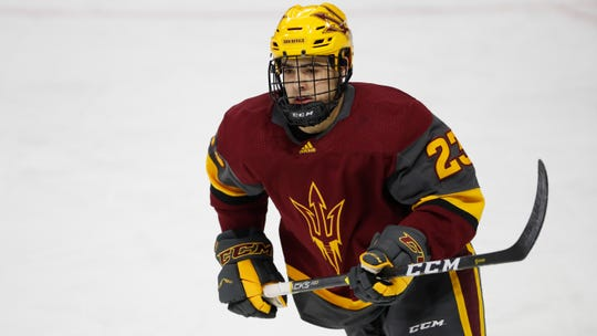 Arizona State's Demetrios Koumontzis was a finalist for the 2018 Minnesota Mr. Hockey award. ASU plays Minnesota in its final two games of the season on Friday and Saturday.