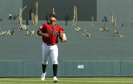 Arizona Diamondbacks center fielder Ketel Marte (4) against the Oakland A's during a spring training game on Feb. 25, 2019 at Salt River Fields in Scottsdale, Ariz.