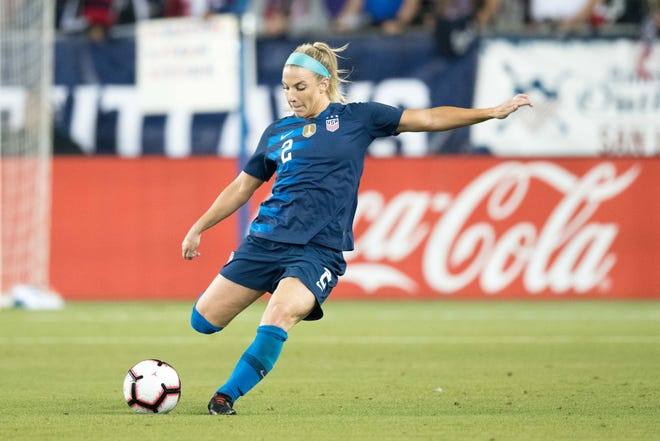 U.S. midfielder Julie Ertz gets set to send the ball down the field during an international friendly match against Chile.