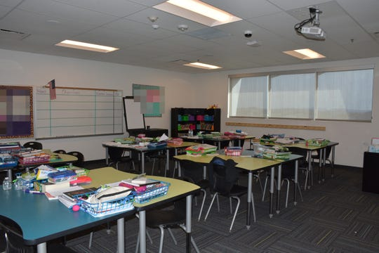 This is the Las Brisas Academy Elementary classroom where teacher Brittany Zamora is accused of engaging in sexual misconduct with a 13-year-old student. Goodyear police have altered this photo to protect the privacy of students.