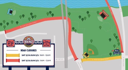 Innings Festival Road Closures Map
