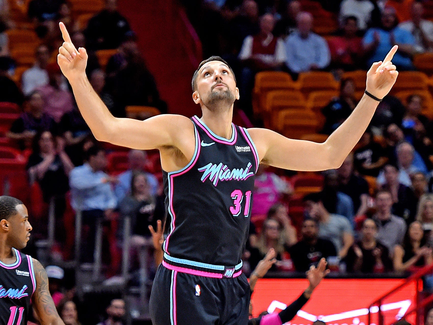 Feb 25, 2019; Miami, FL, USA; Miami Heat forward Ryan Anderson (31) reacts after making a three point basket against the Phoenix Suns during the first half at American Airlines Arena. Mandatory Credit: Steve Mitchell-USA TODAY Sports