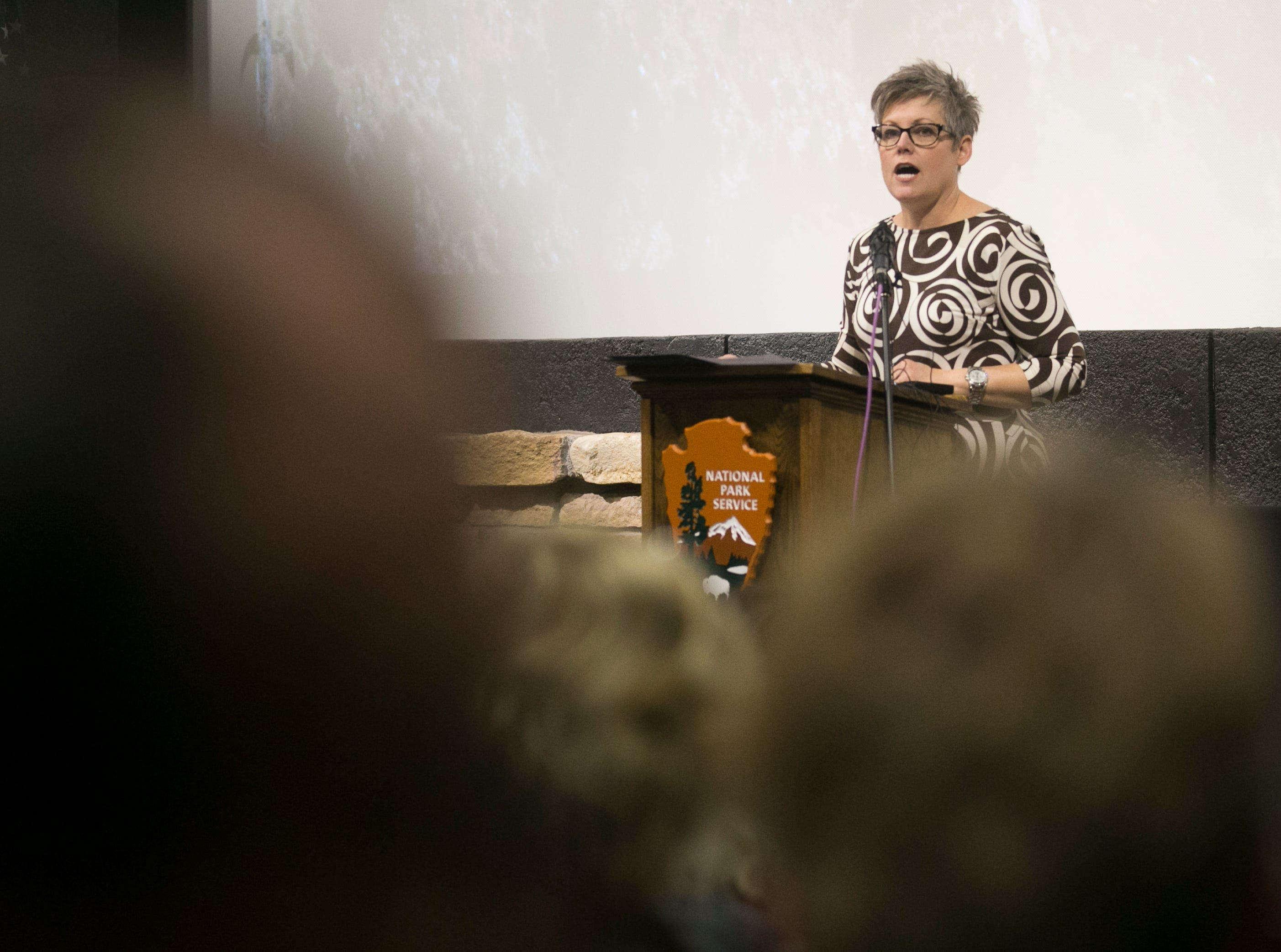 Arizona Secretary of State Katie Hobbs speaks at the Grand Canyon visitors center for the park's 100th anniversary celebration on Feb. 26, 2019.