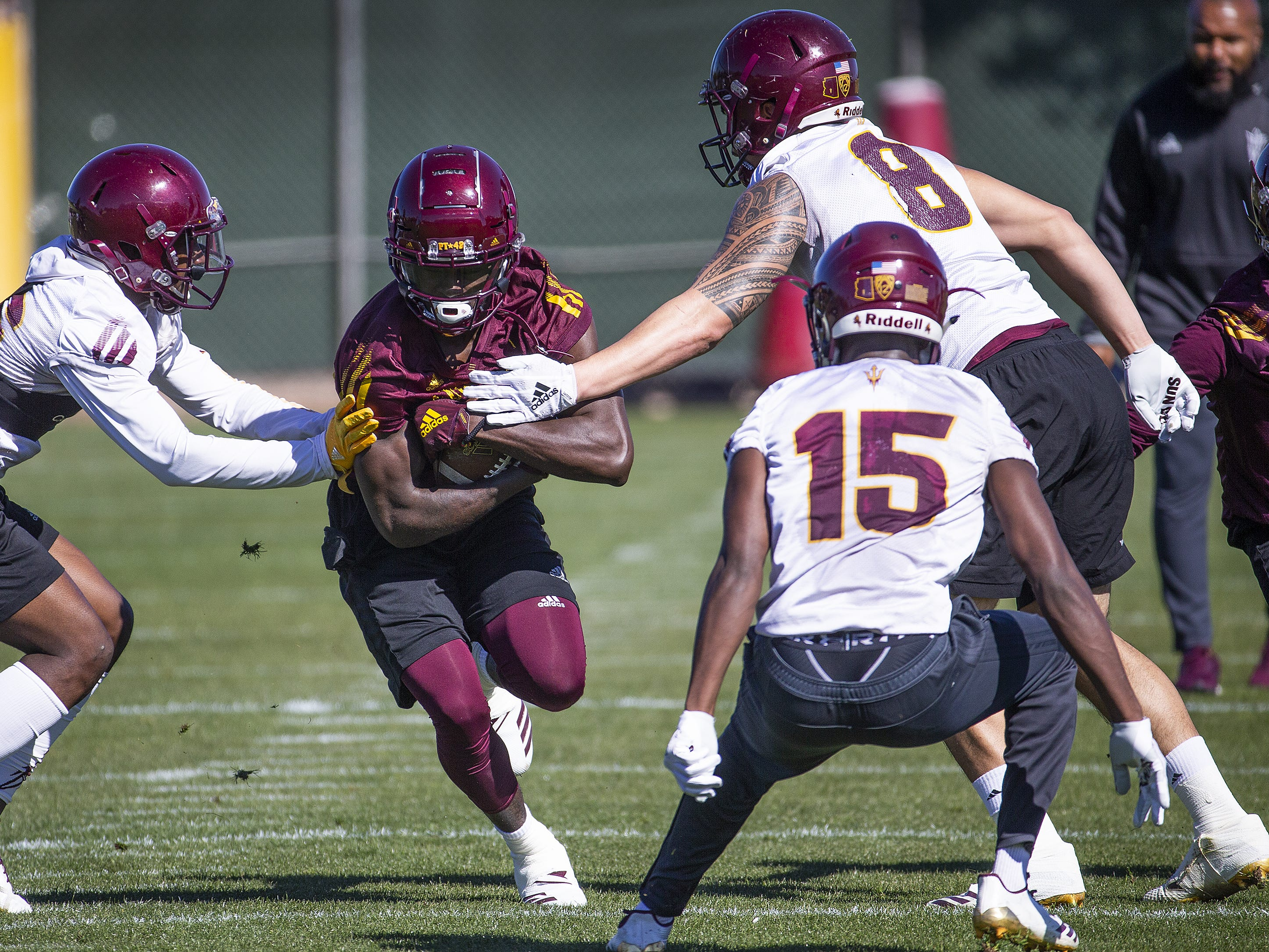 The Arizona State University football team practiced in Tempe, Tuesday, February 26, 2019.  Wide receiver Brandon Aiyuk runs with the ball.