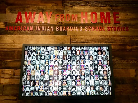 """Photos showing the young faces of  Native people who went to boarding schools can be viewed at the beginning of the """"Away From Home: American Indian Boarding School Stories"""" exhibit at the Heard Museum."""