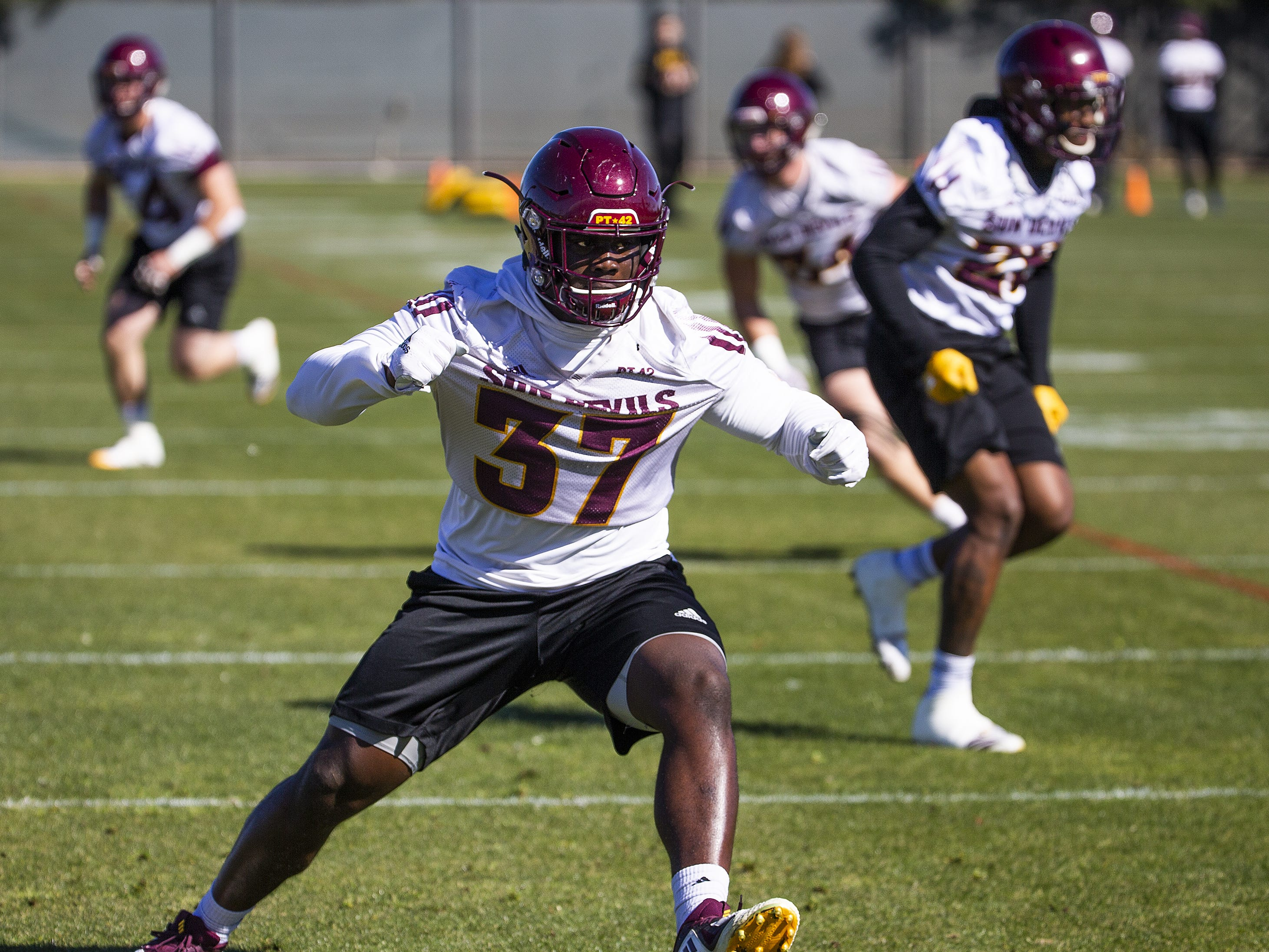 The Arizona State University football team practiced in Tempe, Tuesday, February 26, 2019.   Linebacker Darian Butler runs drills.