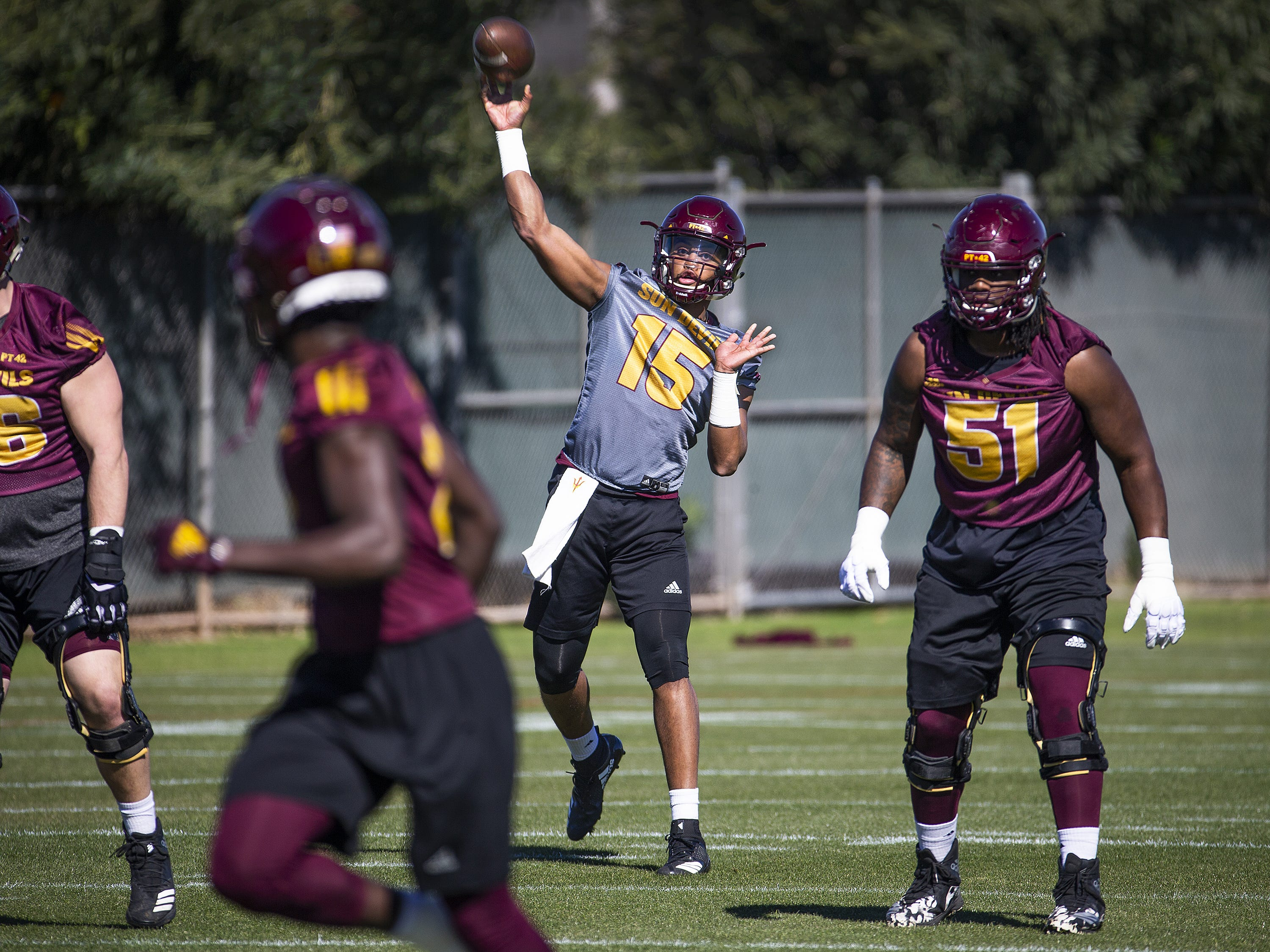 The Arizona State University football team practiced in Tempe, Tuesday, February 26, 2019.   Quarterback Dillon Sterling-Cole fires a pass.