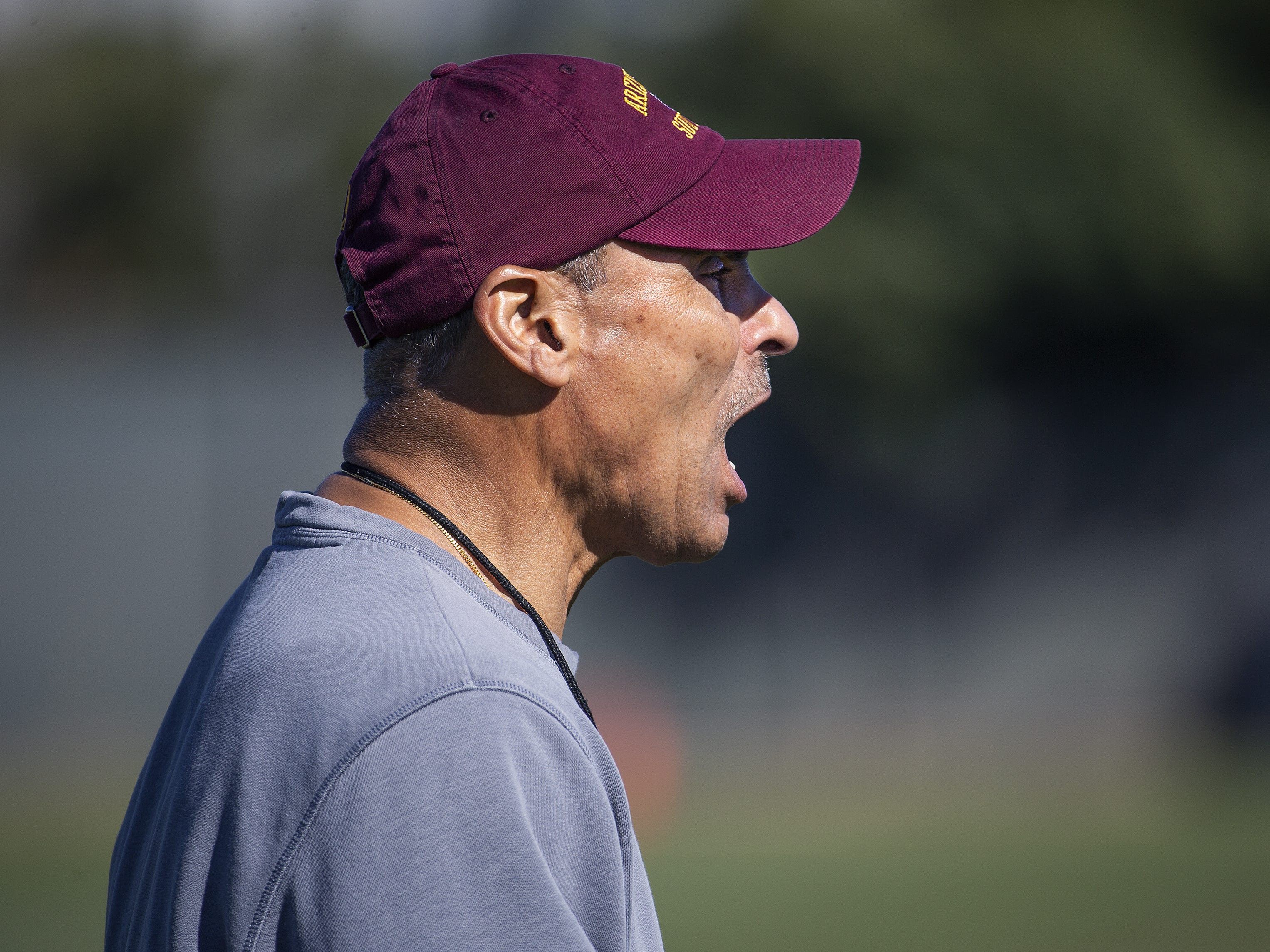 The Arizona State University football team practiced in Tempe, Tuesday, February 26, 2019.   Head coach Herm Edwards barks instructions.