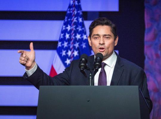 Carlos Vecchio, representante político de Juan Guaidó ofrece un discursoen la ciudad floridana de Doral (Estados Unidos).