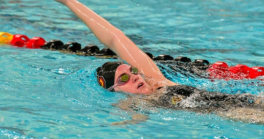 Palmyra grad Peyten Lyons captured her fourth straight Centennial Conference backstroke title over the weekend.