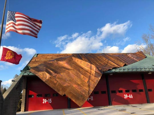 The roof at Hopewell Hose Fire Company #1 in East Fishkill was torn off Monday afternoon due to high winds as seen on Feb. 25, 2019.